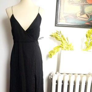 Asos Silky Black Wrap Strappy Maxi Dress